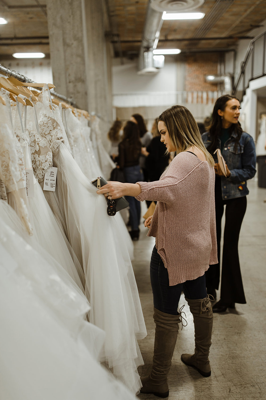 spokane wedding dress shopping fashion show pink sweater