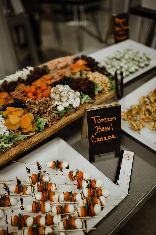 spokane wedding dress tomato basil canape fruit and vegetable tray snacks fashion show