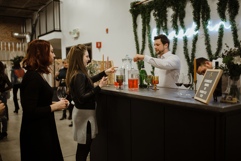spokane wedding dress bar colored glasses mimosa bartender