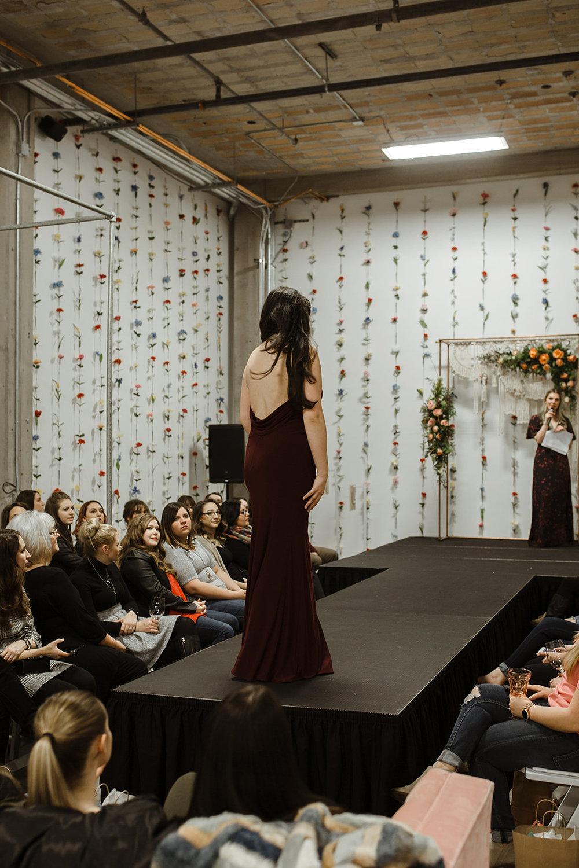 spokane wedding dress fashion show bridesmaid back runway