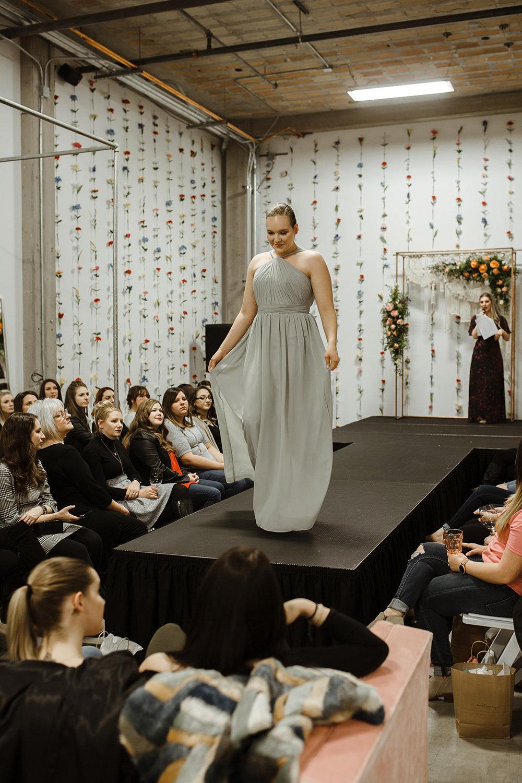 spokane wedding dress fashion show bridesmaid high neck
