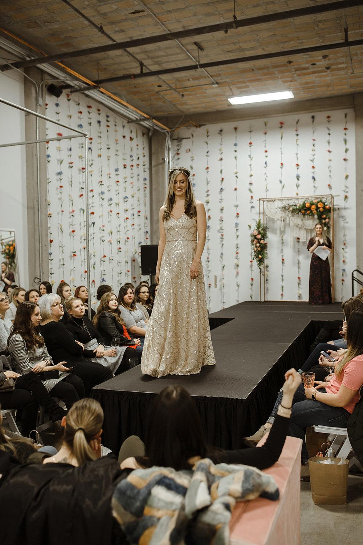 spokane wedding dress bridesmaid gold fashion show
