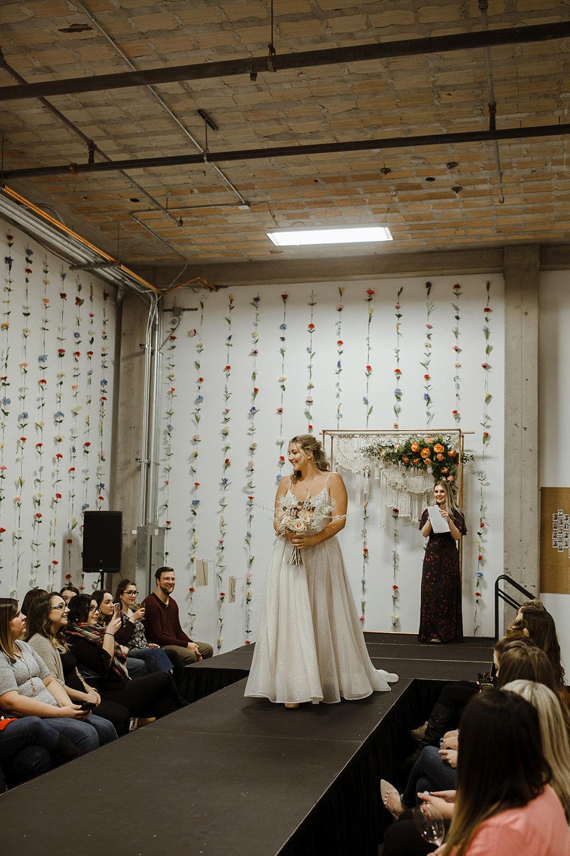 spokane wedding dress fashion show bridal model bouquet