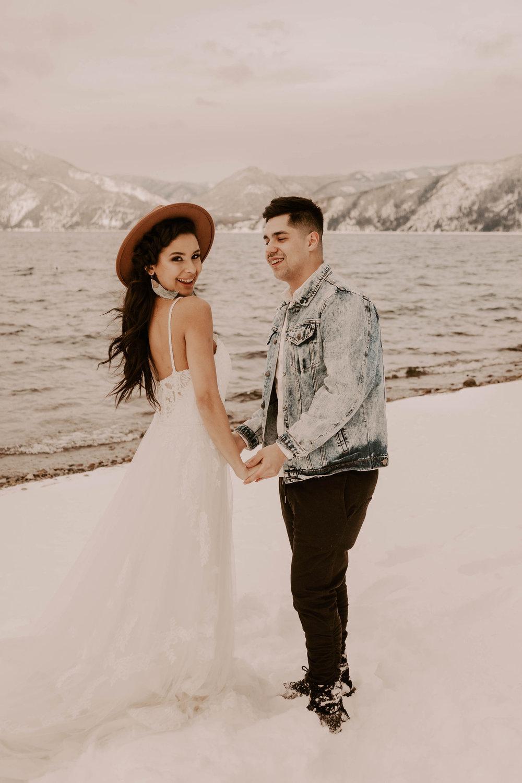winter bride wedding spokane idaho dress