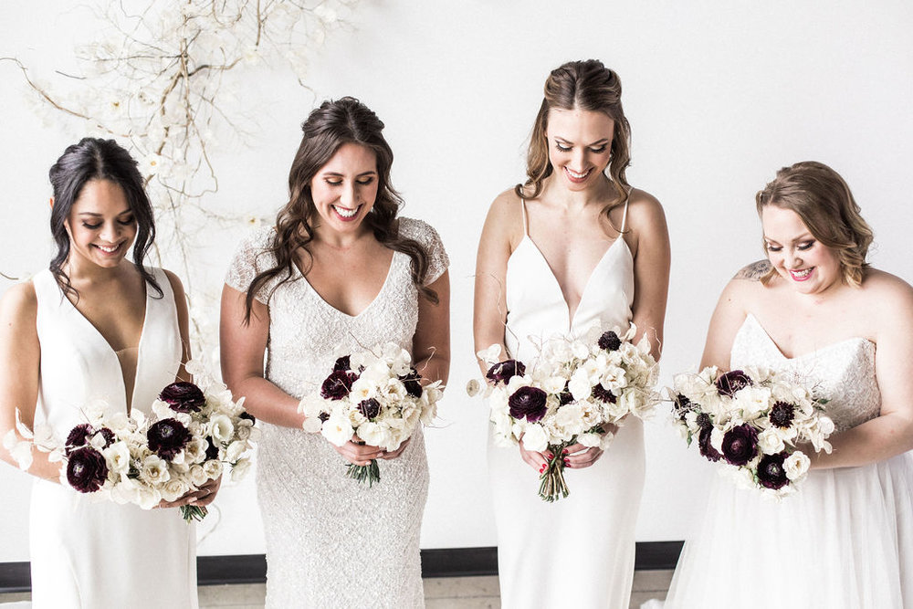 Group of brides with wedding bouquets spokane