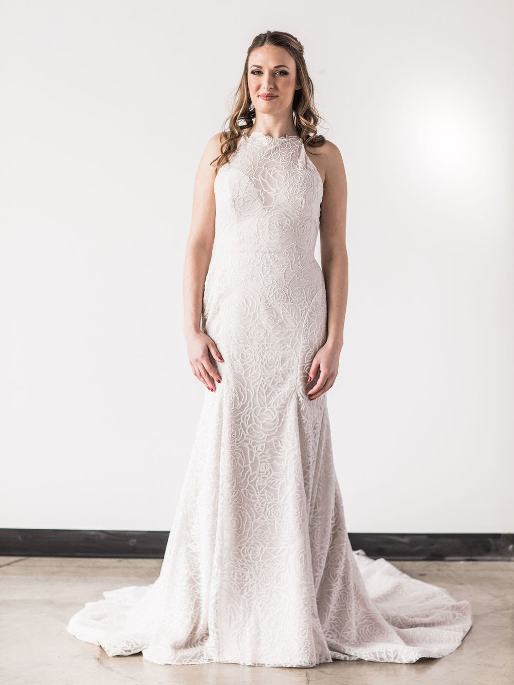 Hayley Paige fitted sparkle floral wedding dress bride spokane