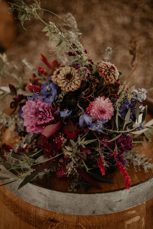 fall color bouquet wedding bride spokane