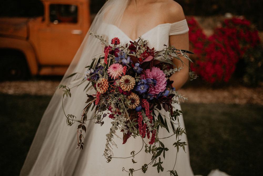 red purple green bouquet wedding fall bride spokane
