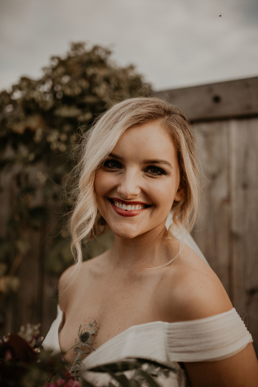 beautiful bride close up wedding spokane