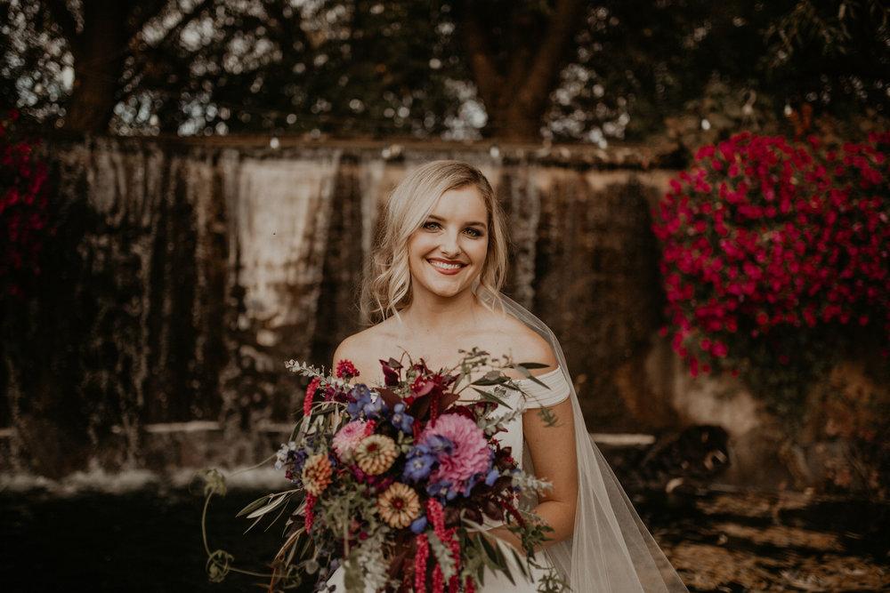 waterfall flowers bride wedding spokane