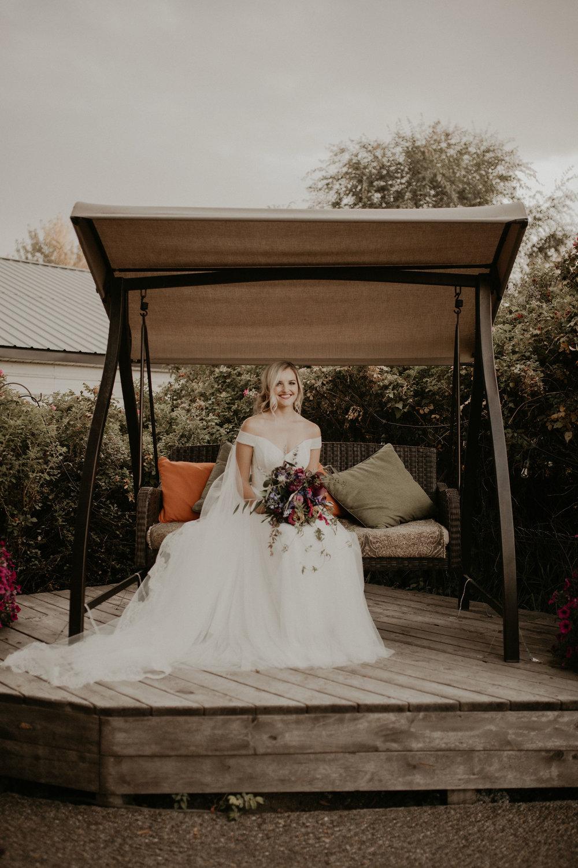 porch swing wedding spokane bride