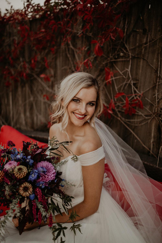 fall bride wedding spokane