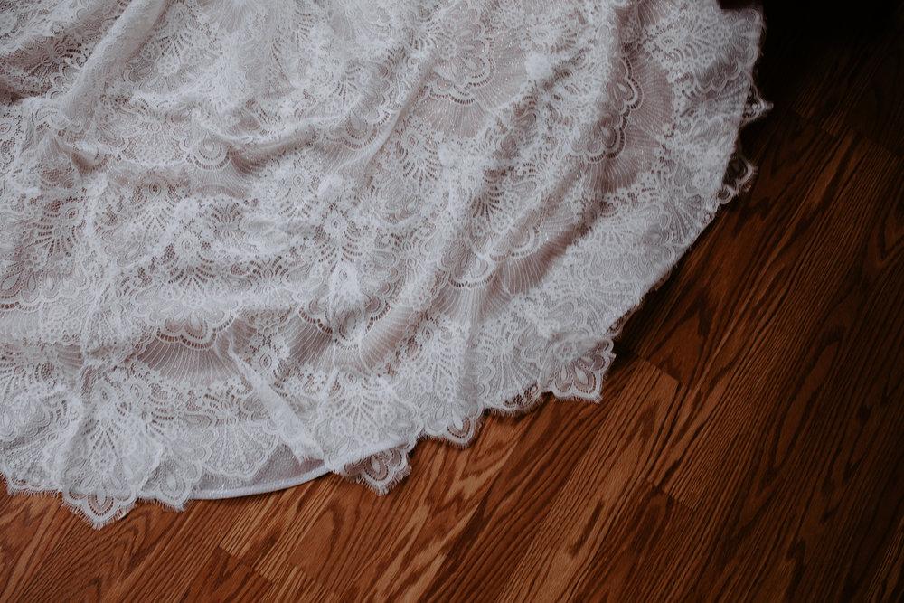 detail train bridal gown spokane wedding