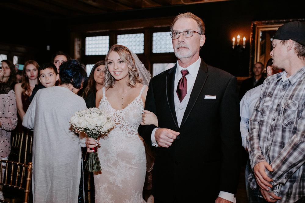 father walking bride down aisle wedding spokane