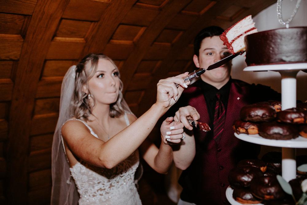 cut the cake wedding reception spokane bride