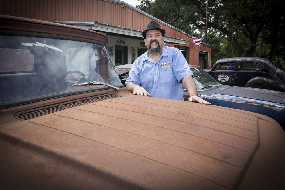 Earl with a 1957 Ford pickup. A future shop truck, for sure.