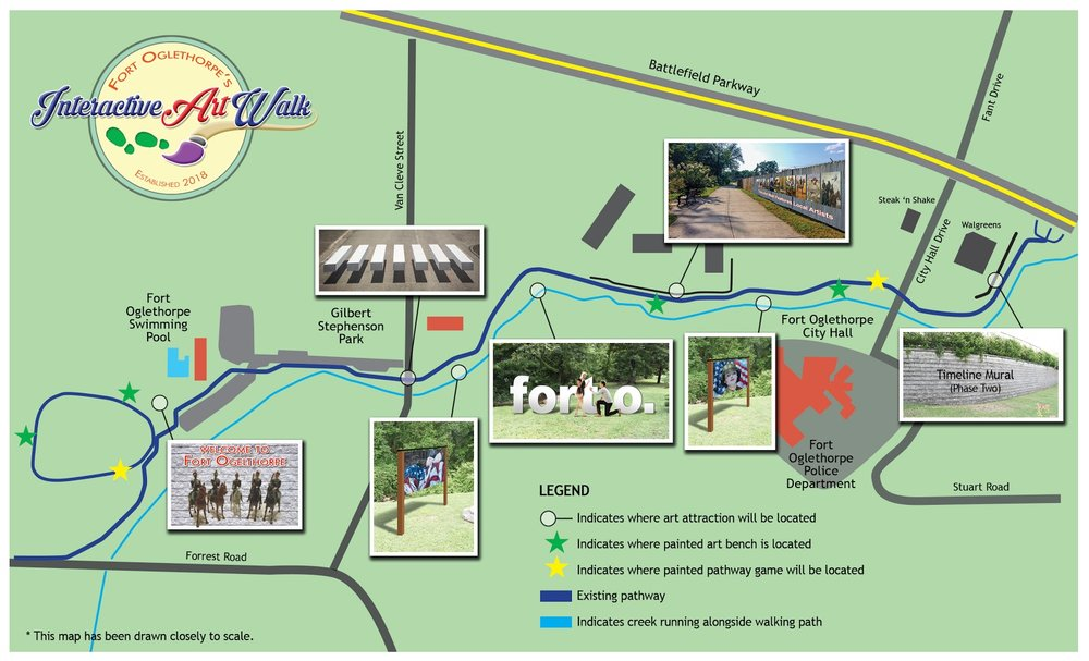 A rendering of Fort Oglethorpe's Interactive Art Walk, coming summer of 2019.