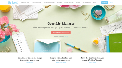 the knot guest list manager landing page copywrite1984