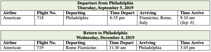 Total Roundtrip Group Airfare Philadelphia–Rome:   Pay by Check: USD $1,194.33 | Pay by Credit Card: USD$1,242.11