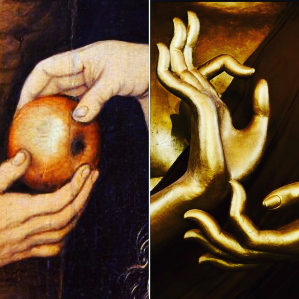 "On left: Eve offering the apple to Adam in the Garden of Eden and the serpent (detail), c.1520-25 (oil on wood) by Lucas Cranach the Elder (1472-1553).  On right: murti of Lord Buddha displaying the ""dharma chakra mudra"" (detail)."