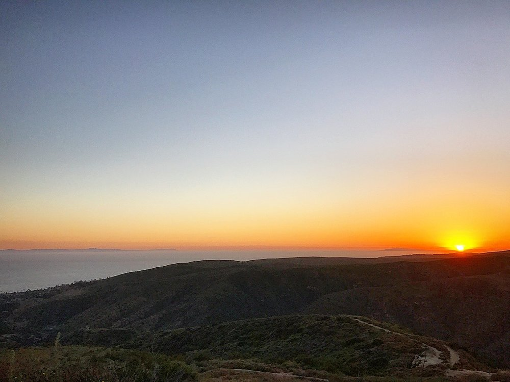"Sunset at ""Top of the World"" park in Laguna Beach. Upper left Santa Catalina Island can be seen."