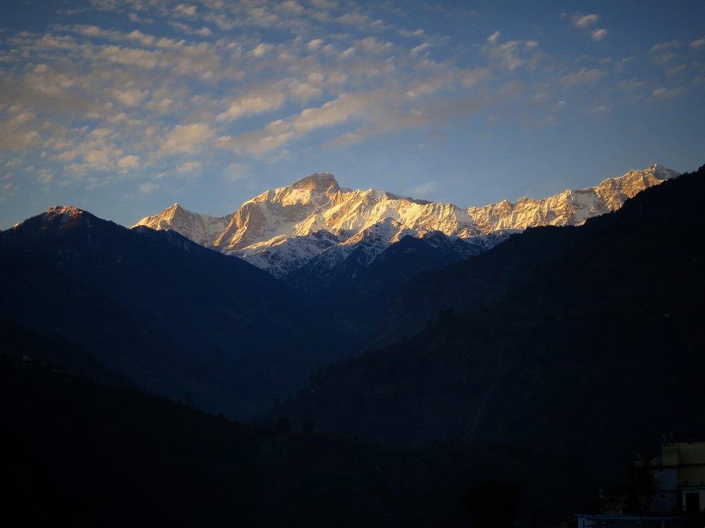 Kedarnath peak, photographed at sunset from Ukhimath village, March 2015.