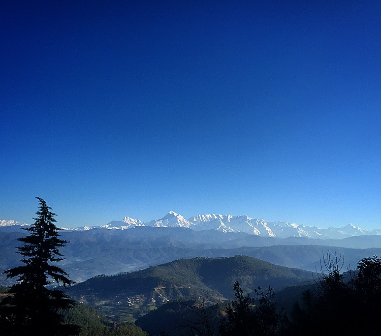 Trishul peak shines in the morning light in the Kumaon District of Uttarakhand. March 2015.