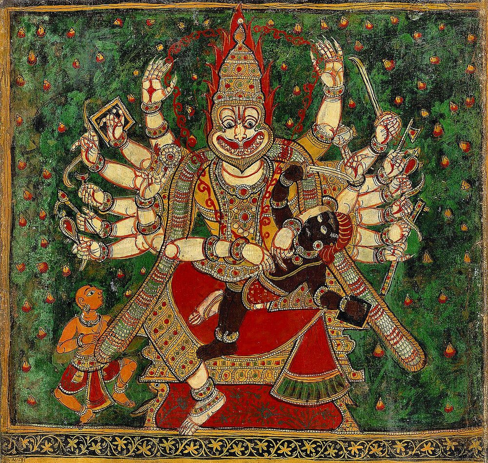 traditional painting of Sri Narasingha and Hiranyakashipu. Bhakta Prahlad is shown on the left.