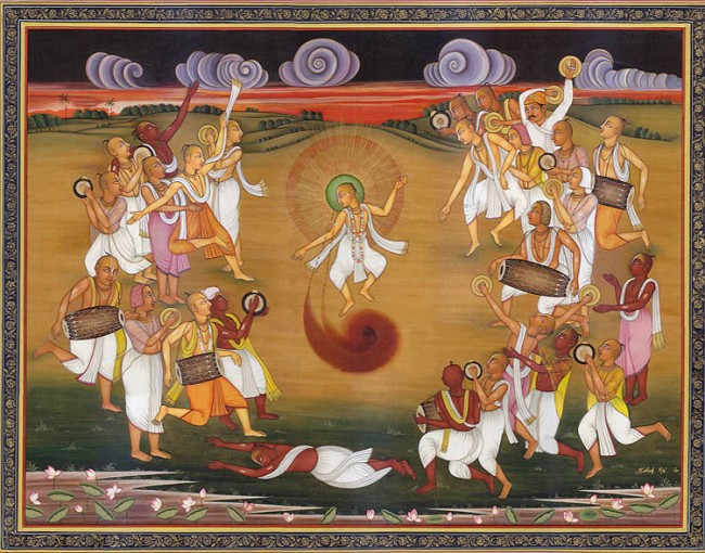 Sri Chaitanya leads kirtan party.