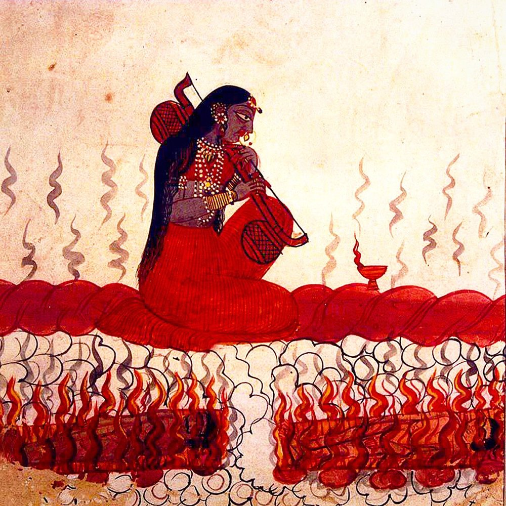 Traditional painting depicting Goddess Matangi as She plays Her vina amidst the burning bodies of the cremation ground.