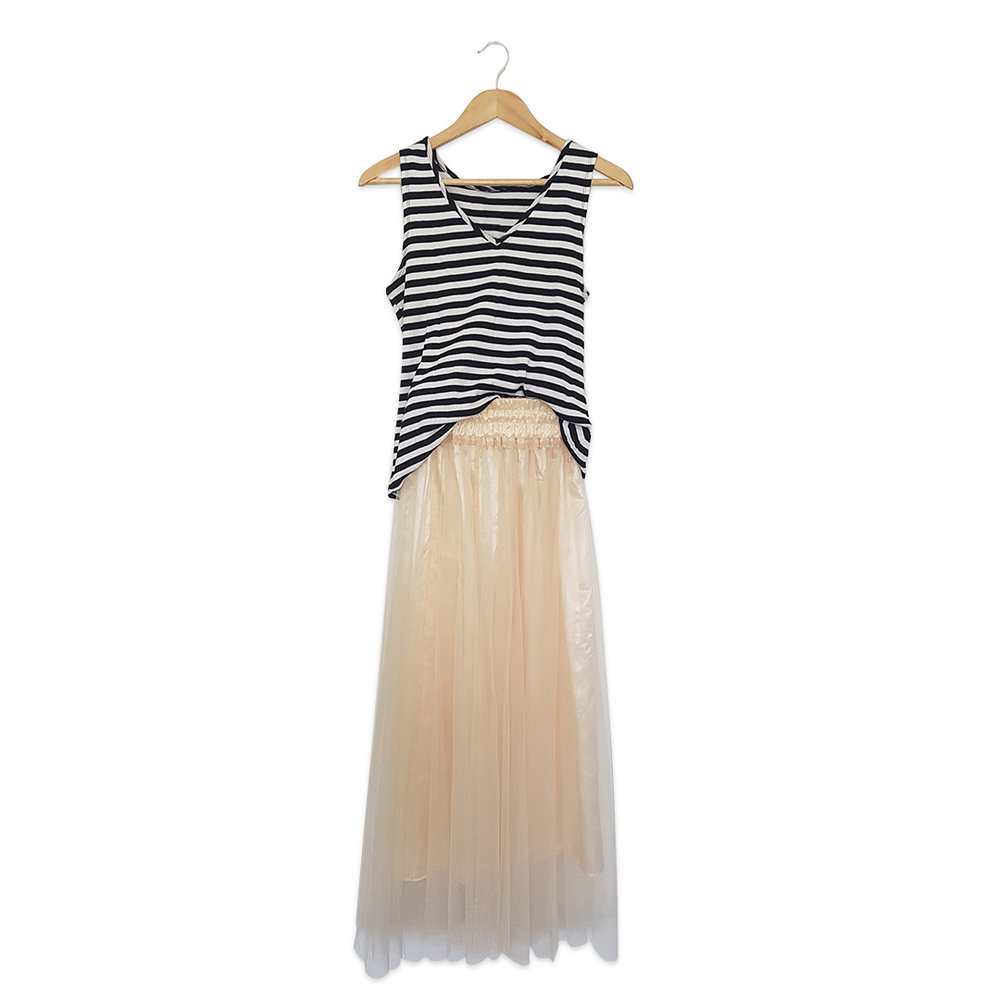 Op shop finds: Striped tank $5.00, Tulle skirt $8.00