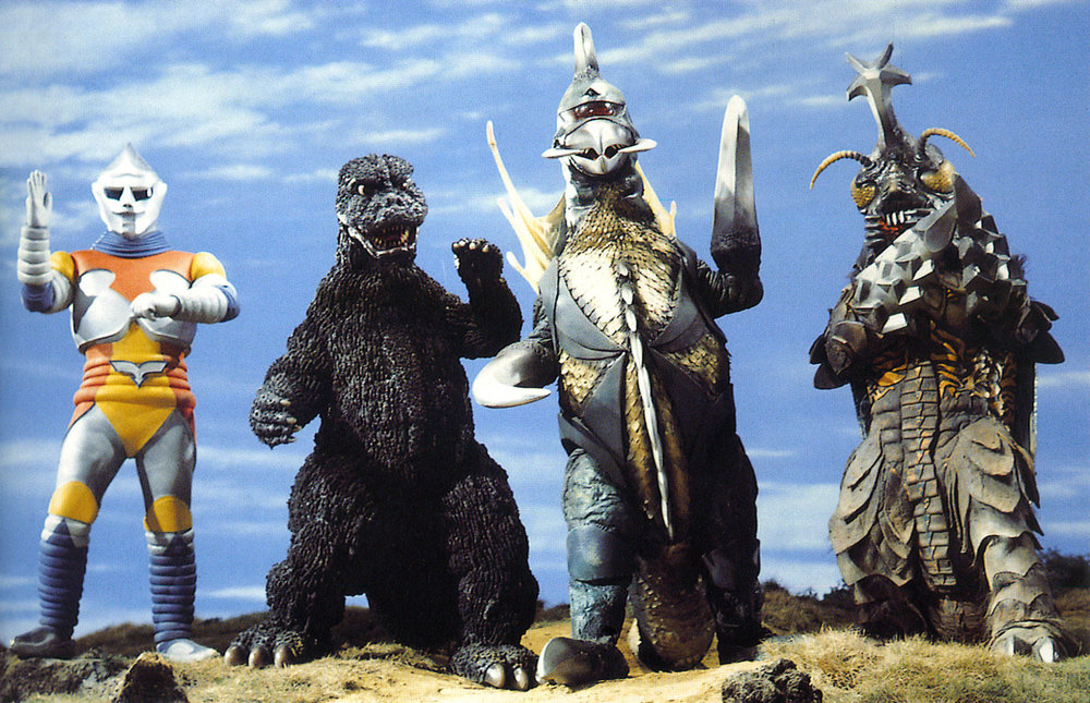 A promotional still from 1973's  Godzilla vs. Megalon,  which shows the newly introduced Jet Jaguar (L) alongside Godzilla, Gigan and Megalon.