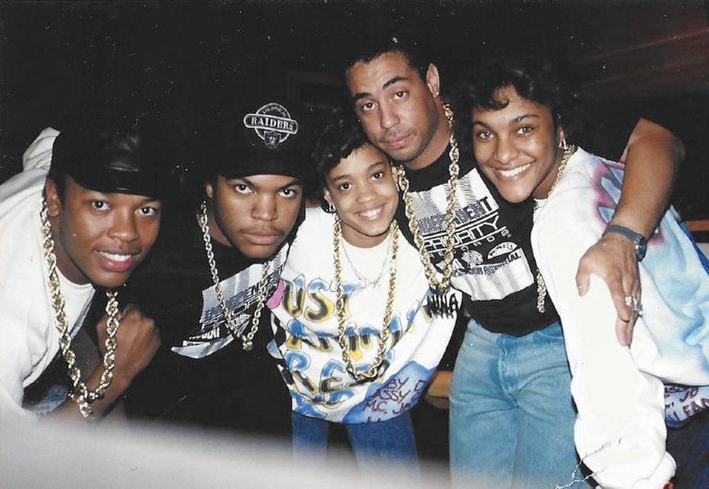 L to R: Dr. Dre, Ice Cube, Dania 'Baby D' Burks, DJ Yella & Juana 'MC J.B.' Burns.