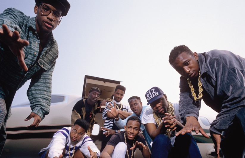 A photo from the  In Control  shoot. L-R standing: Masta Ace, Big Daddy Kane, Marley Marl, DJ Polo, Biz Markie, Kool G Rap. Squatting: Craig G, MC Shan.