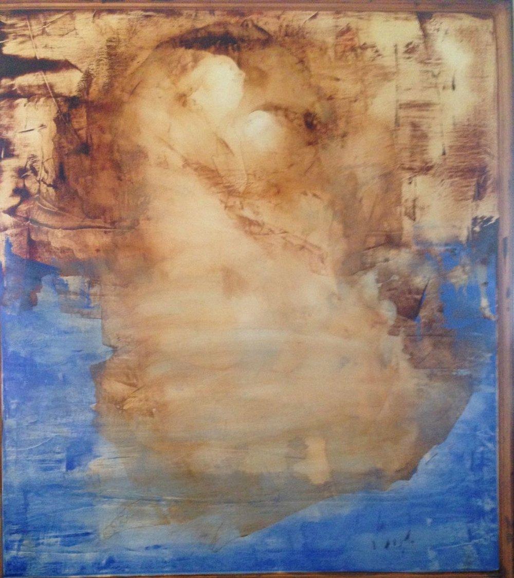 AR 1542 - Carlos Araujo - 180 x 160  - Maternidade em Siena e Azul - 2014 - OS Tela Colada na Madeira.jpg