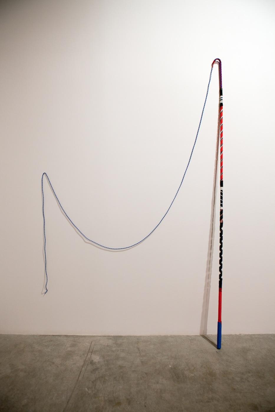 Judith Hopf  Untitled 2008 Plexiglass, nylon cord, sticky tape, rope 220 x 3 cm
