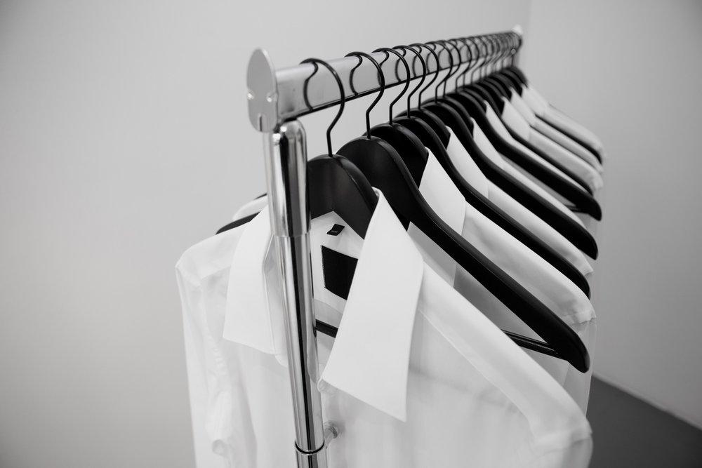 Niklas Goldbach  Self-Titled 2012 Cloth rack, white shirts, black trousers 152 x 125 x 66 cm Edition 3 + 1 AP