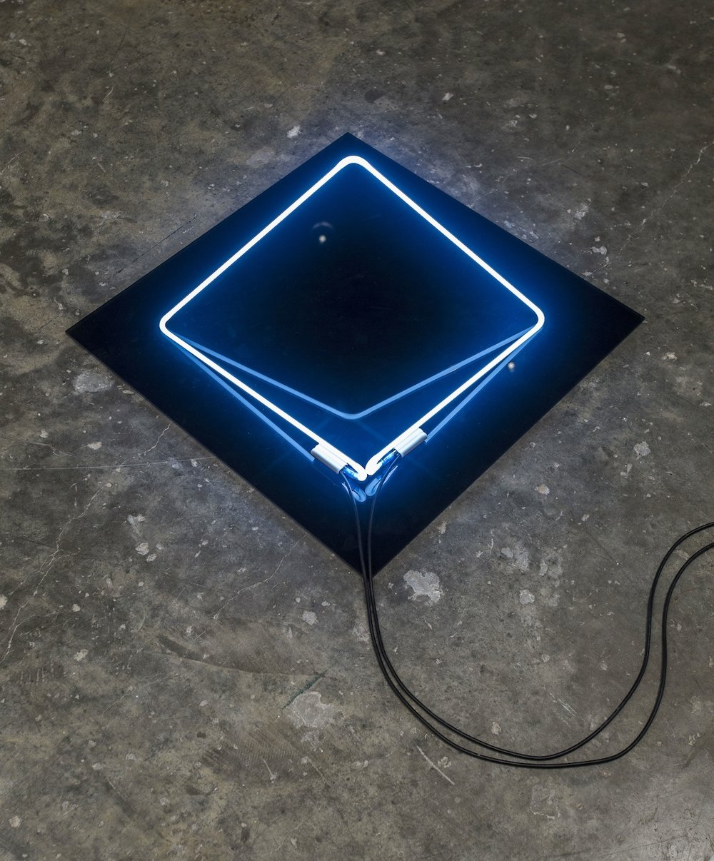 Michael John Whelan  Folded square 2014 White neon, plexi glass and transformer 37 x 37 x 26 cm (neon) and 55 x 55 x 0.5 cm (plexi glass) 2 + 1AP