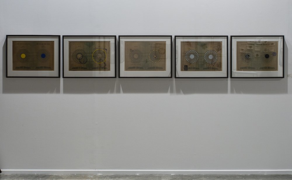 Alyssa Pheobus Mumtaz & Murad Khan Mumtaz  Origin, Departure 2012 Natural pigments and opaque watercolor on digital print 37.465 x 53.34 cm each