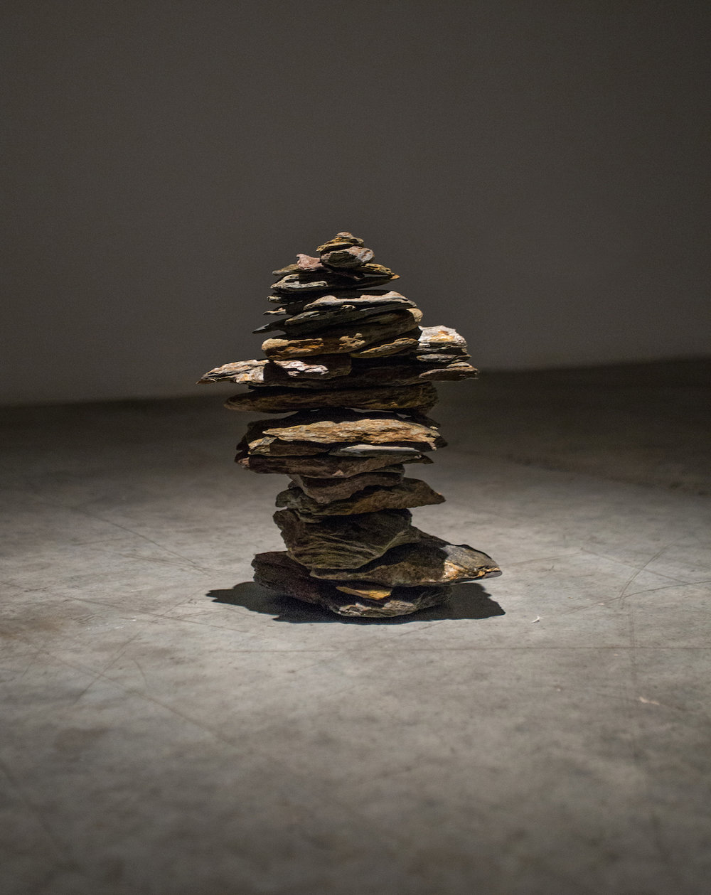 Cairn 2014 Foliated metamorphic rock (Phyllite), 43 pieces 28 x 20 x 20 cm