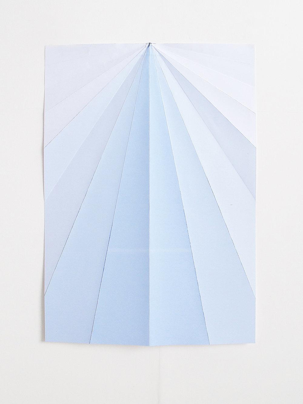 Caline Aoun  Blue paper plane 2015 Inkjet print on folded paper  146 x 105 cm