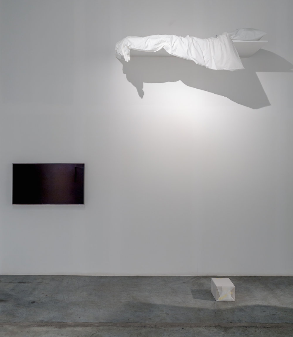 I guess that dreams are always there 2014 Wooden shelf, duvet, pillow Dimensions variable