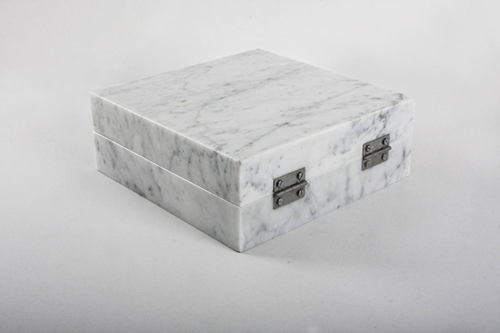 Night Enclosed in Marble (detail) 2012 – 2016 Carrara marble 1cm3 of night of Kadisha valley Lebanon, hinges 23 x 23 x 9 cm