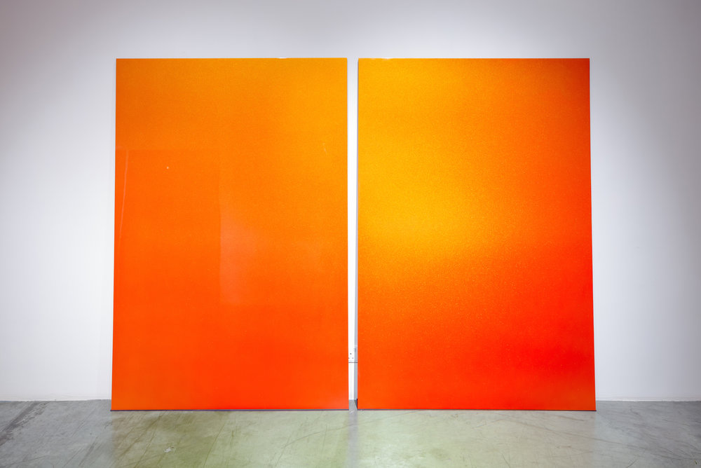 High Noon 2016 Automotive paint, steel, MDF, rubber, 5 panels 182 x 121 cm (each)