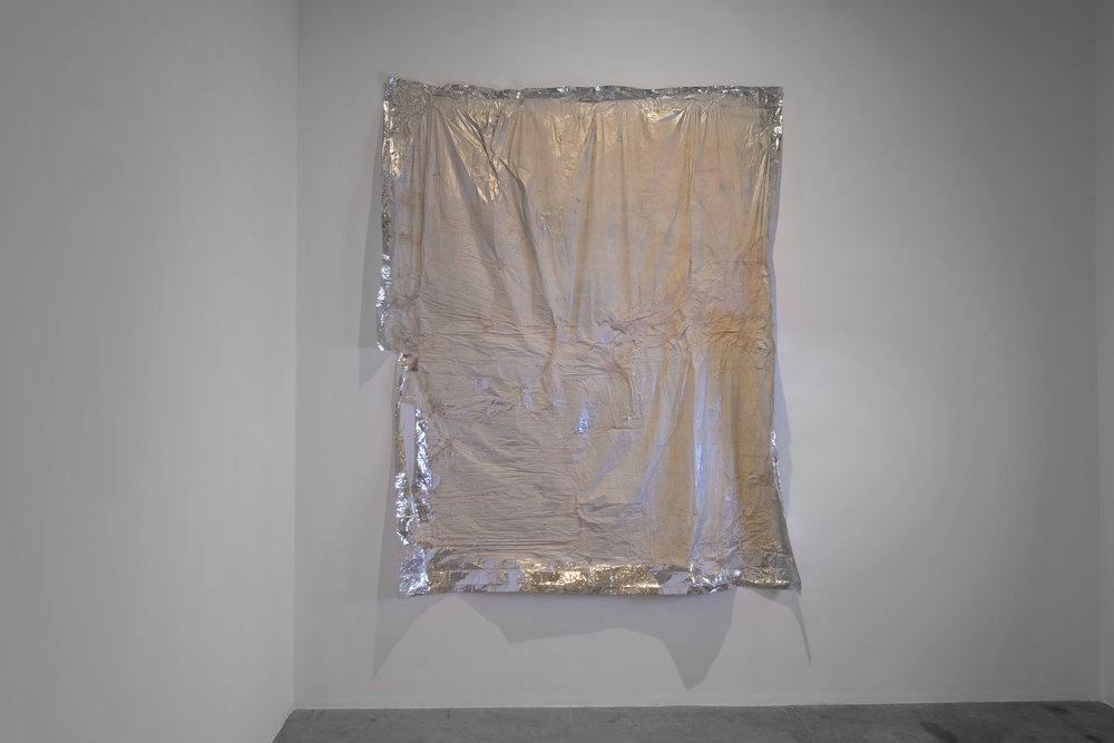 Dala Nasser  It's Only A Party if You Sniff It 2016 Marble dust, trauma blankets, liquid latex 240 x 220 cm
