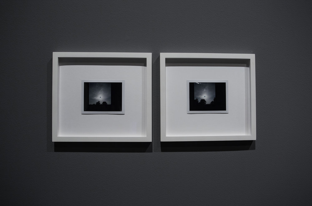 LEFT - RIGHT:  LEFT: Michael John Whelan, Transit of Venus (1), 2012, framed polaroid, 22 x 24 cm  //  RIGHT:  Michael John Whelan, Transit of Venus (2), 2012, framed polaroid, 22 x 24 cm