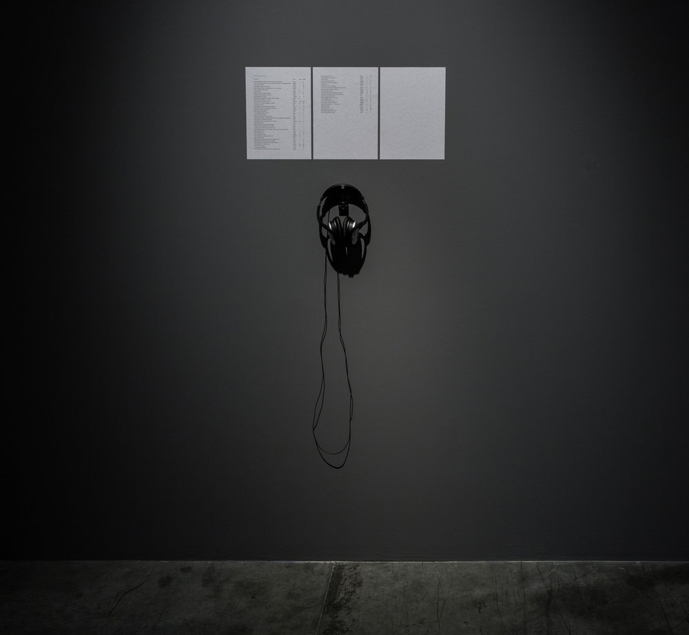 Michael John Whelan   Chamber 2016 Single channel sound (00:21:36), noise canceling headphones, digital audio player, 3 paper sheets (21 x 29.7 cm each) Edition of 3 + 2 AP