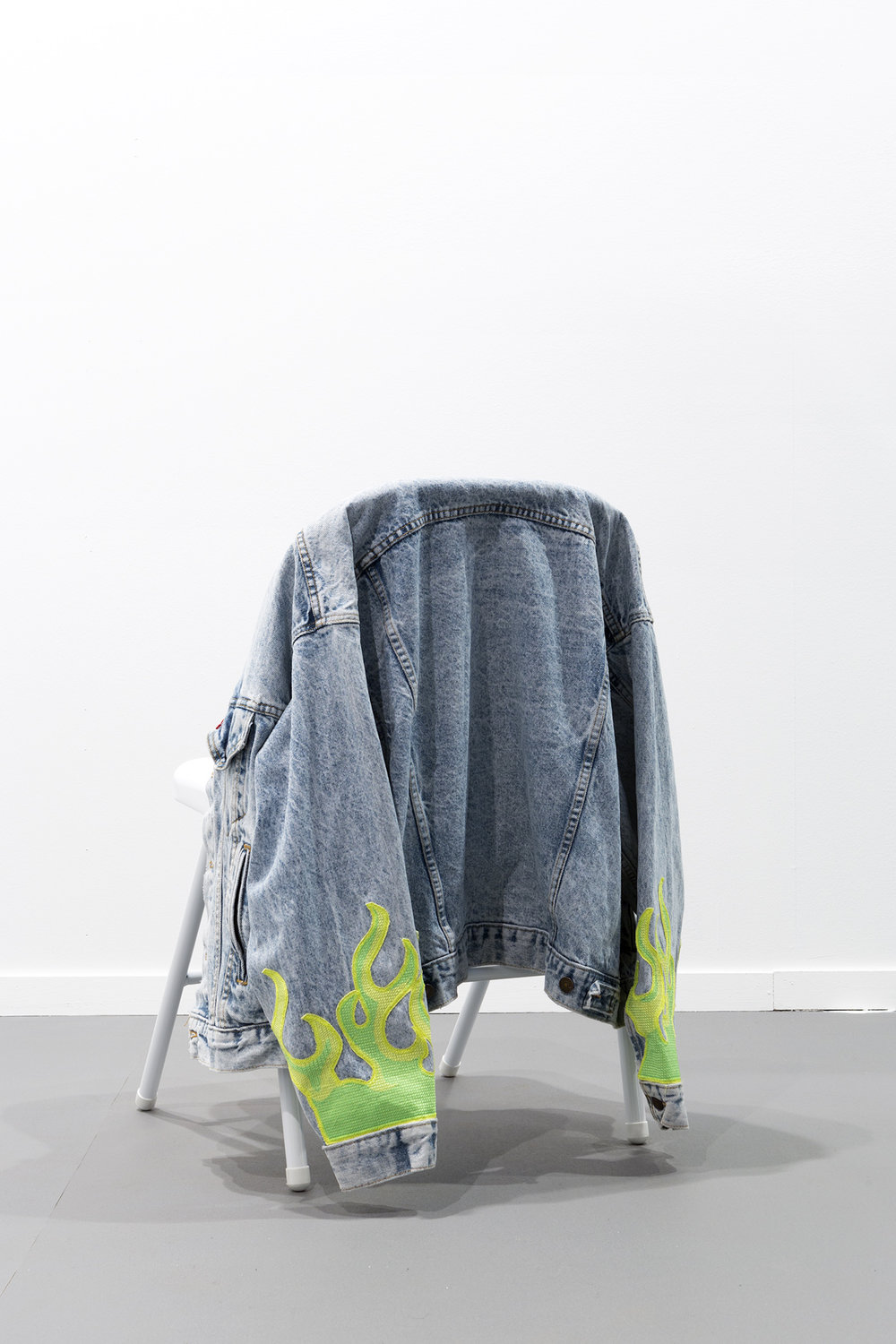 Raja'a Khalid   sh-r-k  2018 Custom embroidery on denim dimensions variable  Installation view / ARCOmadrid2018