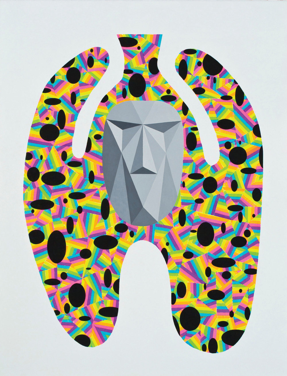 Fahd Burki  Urn 2012 Acrylics and marker on paper 56.5 x 43.3 cm