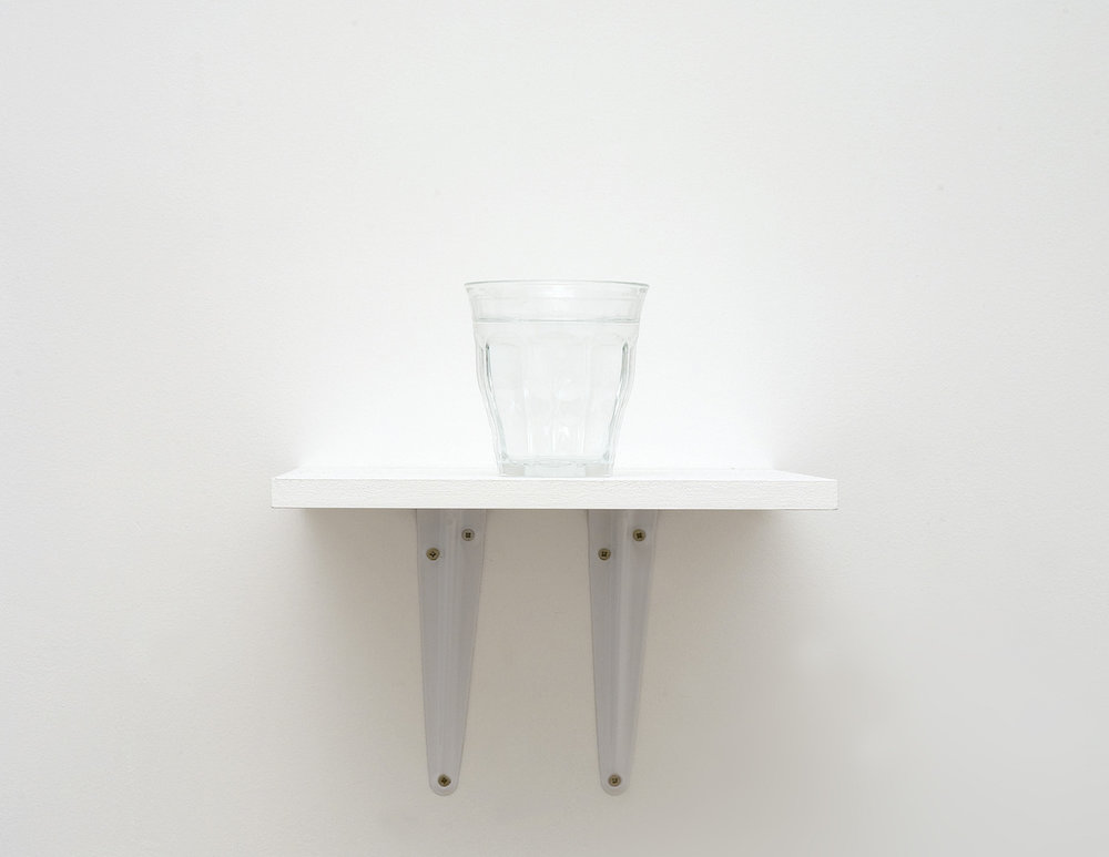 Charbel-joseph H. Boutros  Drink Europa 2012 - 2013 Glass of water, water: an equal mix of 28 mineral waters, from the 28 European countries, wooden shelf